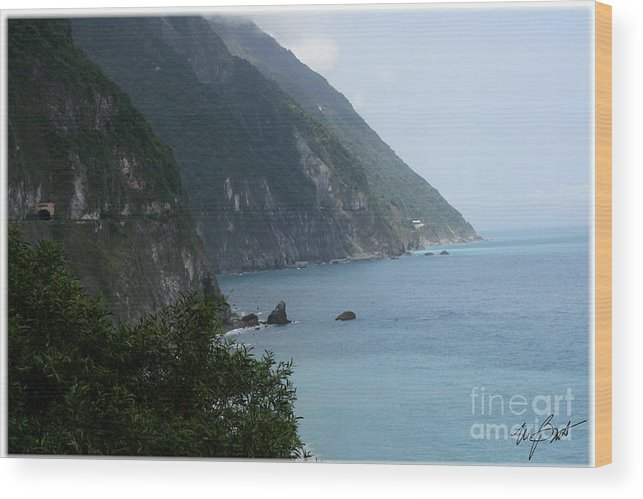 Water Wood Print featuring the digital art Taiwan Postcard 2 by Maxine Bochnia