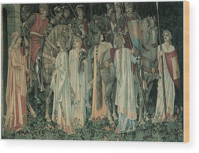 Edward Burne-jones Wood Print featuring the painting The Departure Of The Knights by Edward Burne-Jones