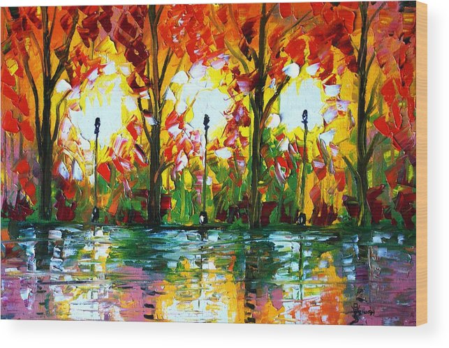 Lights Wood Print featuring the painting The Lights by Real ARTIST SINGH