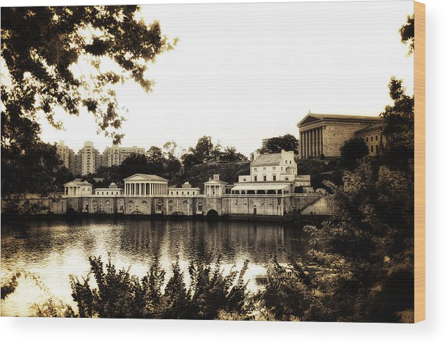 The Waterworks In Sepia Wood Print featuring the photograph The Waterworks In Sepia by Bill Cannon