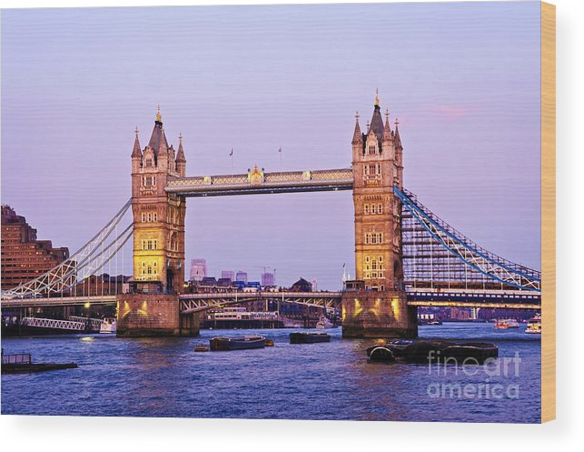 Tower Wood Print featuring the photograph Tower Bridge In London At Dusk by Elena Elisseeva