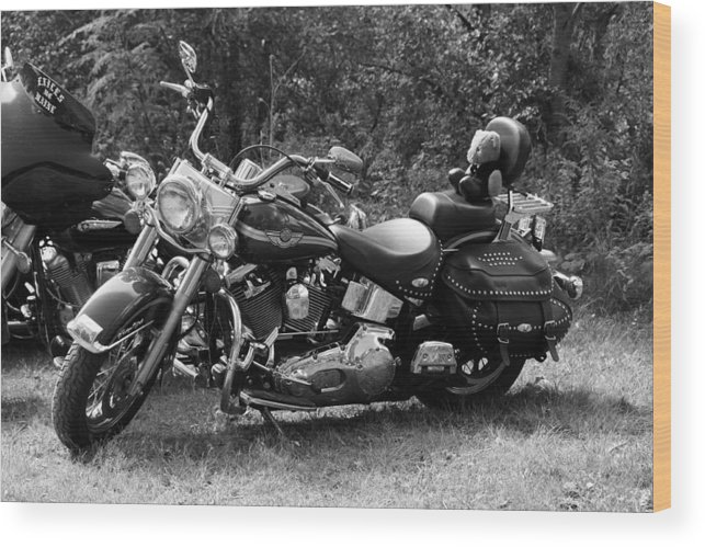 Motorcycle Photo Wood Print featuring the photograph Toy Run by Bonnie Brann