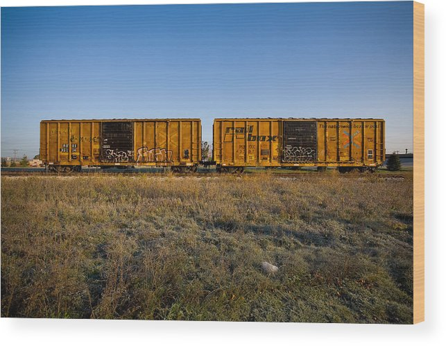 Train Wood Print featuring the photograph Train Cars by Eric Tadsen