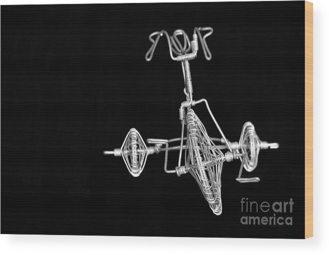 Tricycle Wood Print featuring the photograph Tricycle On Black by Sophie Vigneault