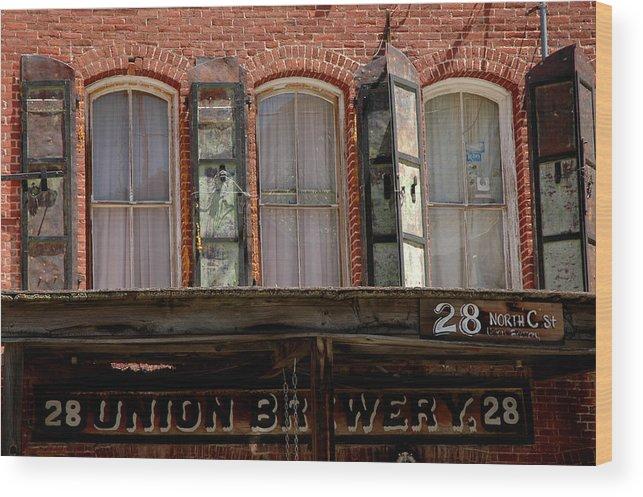 Usa Wood Print featuring the photograph Union Brewery Virginia City Nv by LeeAnn McLaneGoetz McLaneGoetzStudioLLCcom