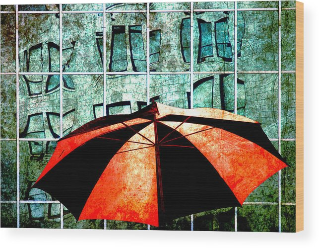 Art Wood Print featuring the photograph Urban Umbrella by Randall Nyhof