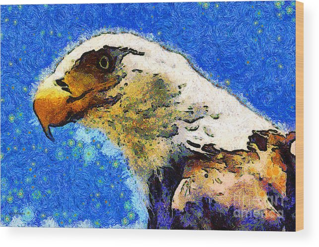 Usa Wood Print featuring the photograph Van Gogh.s American Eagle Under A Starry Night . 40d6715 by Wingsdomain Art and Photography