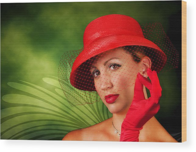 Vintage Wood Print featuring the photograph Vintage - Red Hat Lady by Trudy Wilkerson