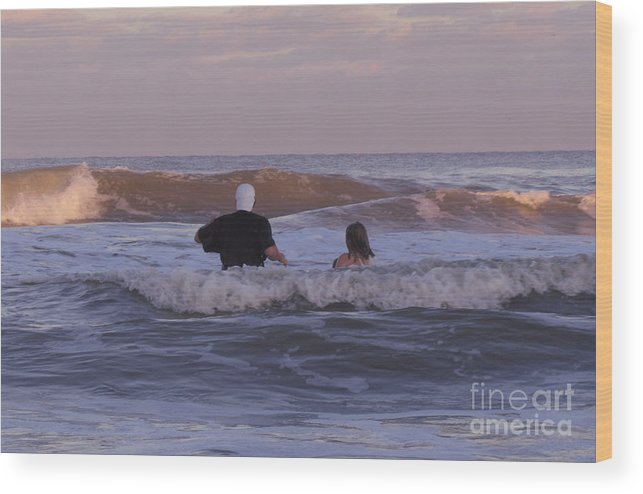 Human Wood Print featuring the photograph Waiting For The Huge Wave by Donna Brown