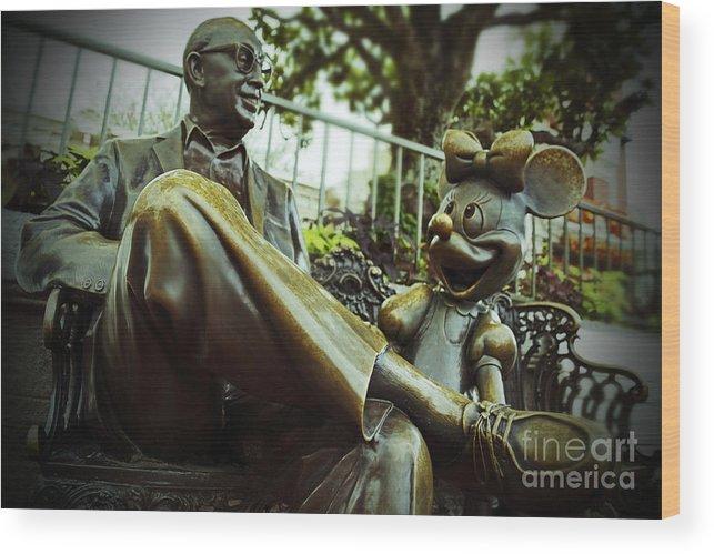 Walt Disney World Magic Kingdom Roy Disney Minnie Mouse Bronze Statue Sculpture Mickey Mouse Wood Print featuring the photograph Walt Disney World - Magic Kingdom by AK Photography