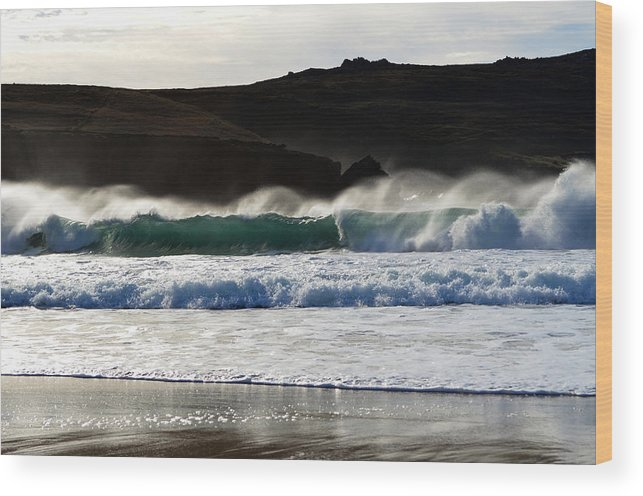 Ireland Wood Print featuring the photograph Waves At Clogher Beach by Barbara Walsh