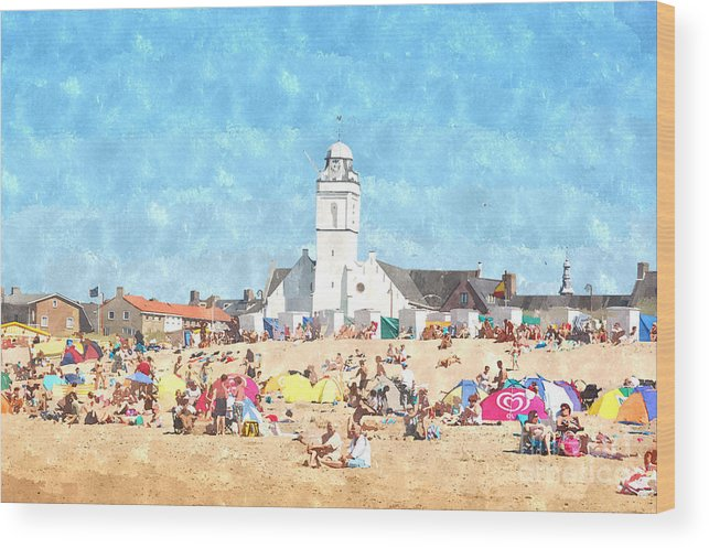 White Wood Print featuring the photograph White Church At The Sea by Bill Kret