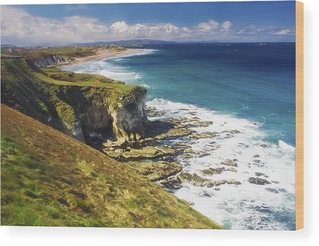 Beach Wood Print featuring the photograph White Rocks, Portrush, Co Antrim by The Irish Image Collection