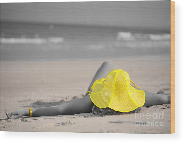 Girl Wood Print featuring the photograph Woman In Yellow Hat by MotHaiBaPhoto Prints