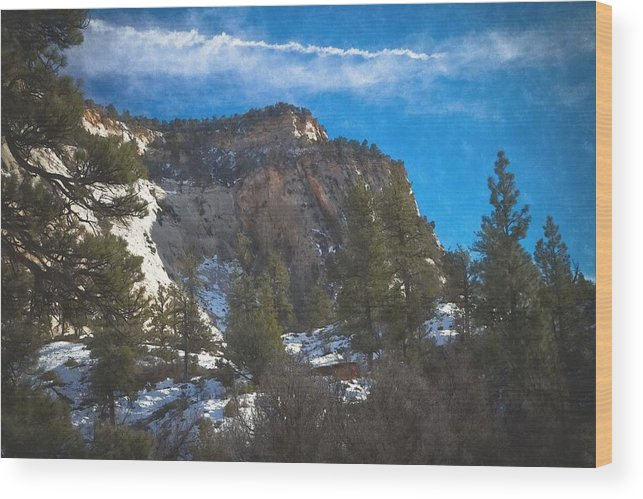 Snow Wood Print featuring the photograph Zion Winter Moment by Paul Roach