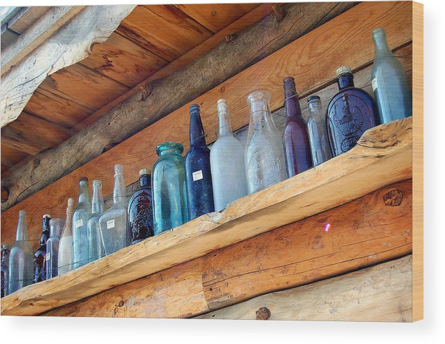 Bottles Wood Print featuring the photograph Antique Bottles Blues by Heather S Huston