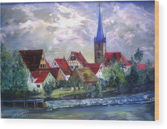 Landscape River Regnitz Church Erlangen Bruck Germany Wood Print featuring the painting Brucker Kirche by Alfred P Verhoeven