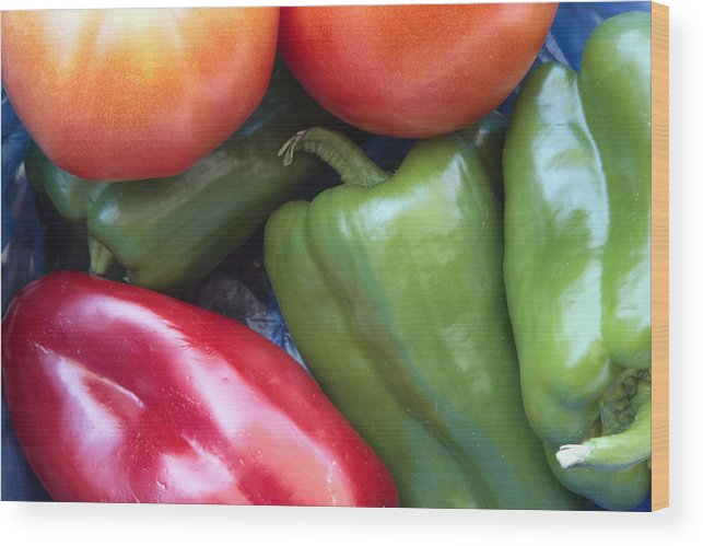 Red Wood Print featuring the photograph Fresh Peppers And Tomatoes by Steve Outram
