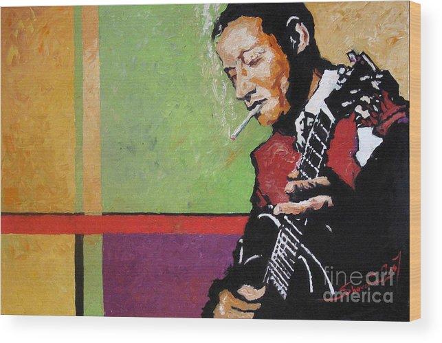 Jazz Wood Print featuring the painting Jazz Guitarist by Yuriy Shevchuk