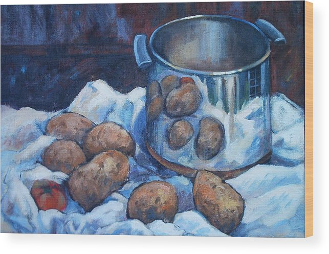 Still Life Wood Print featuring the painting  Pomme De Terre by Dianna Willman