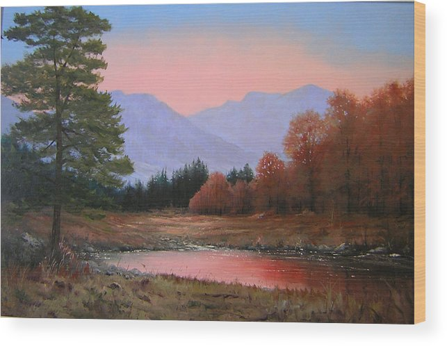 Landscape Wood Print featuring the painting 051116-3020   First Light Of Day  by Kenneth Shanika