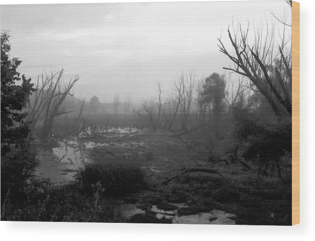 Atmospheric Wood Print featuring the photograph 072806-23bw A Shortcut Through Mordor by Mike Davis
