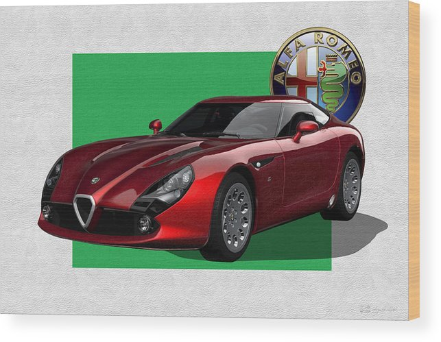 �alfa Romeo� By Serge Averbukh Wood Print featuring the photograph Alfa Romeo Zagato T Z 3 Stradale With 3 D Badge 1 by Serge Averbukh
