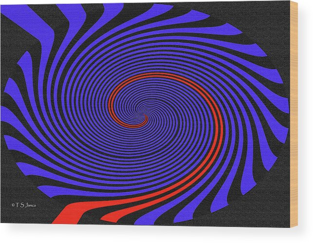 Blue Black And Red Twirl Abstract Wood Print featuring the digital art Blue Black And Red Twirl Abstract by Tom Janca