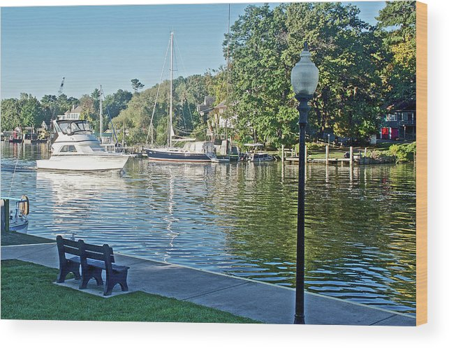 Boats On The Kalamazoo River In Saugatuck Wood Print featuring the photograph Boats On The Kalamazoo River In Saugatuck, Michigan by Ruth Hager