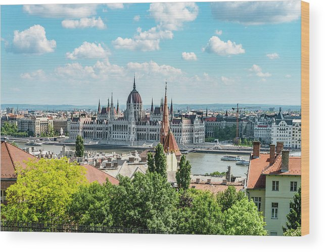 Budapest Wood Print featuring the photograph Budapest Skyline by Sharon Popek
