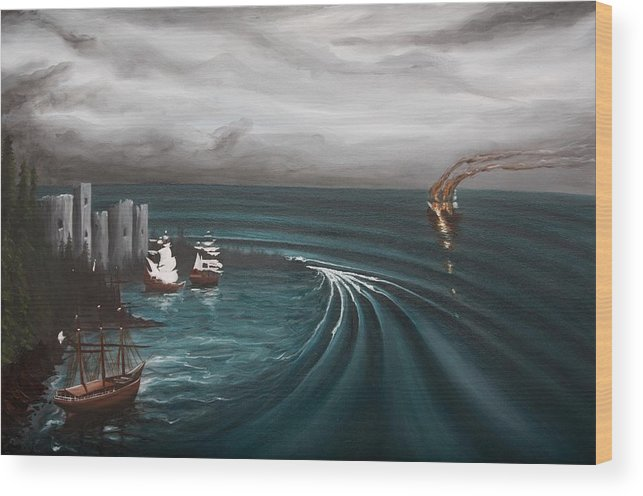 Surf Wood Print featuring the painting Castaway by Ronnie Jackson