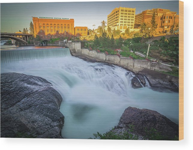 Water Wood Print featuring the photograph Falls And The Washington Water Power Building Along The Spokane by Alex Grichenko