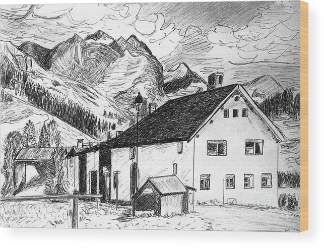 Switzerland Wood Print featuring the drawing Fextal Switzerland by Monica Engeler
