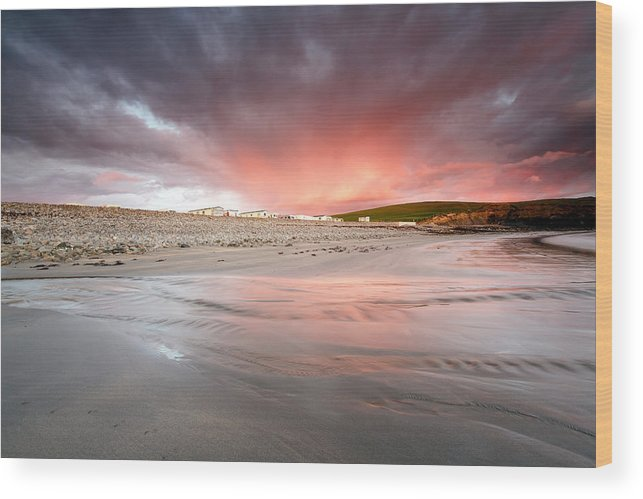Beautiful Sky. White Strand. Miltown Malbay. Clare. Ireland. Sunset Wood Print featuring the photograph Fire In The Sky by Ann O Connell