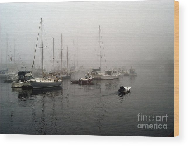 Ships Wood Print featuring the photograph Foggy Camden Harbor by Neil Doren