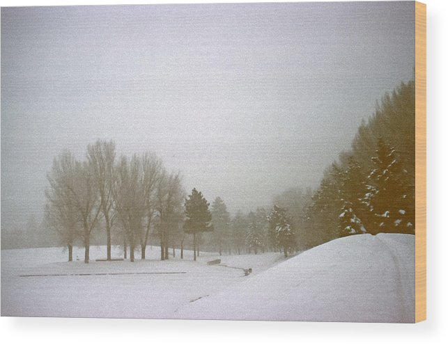 Fog Wood Print featuring the photograph Foggy Morning Landscape 5 by Steve Ohlsen
