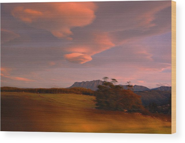 Evening Home Landscape Mount Mountain Photography Rowland Sunsets Tas Wood Print featuring the painting Going Home by Sarah King