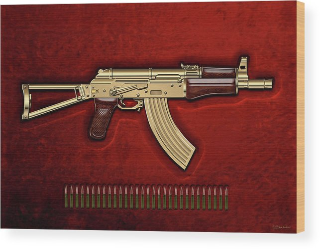 'the Armory' Collection By Serge Averbukh Wood Print featuring the photograph Gold A K S-74 U Assault Rifle With 5.45x39 Rounds Over Red Velvet  by Serge Averbukh