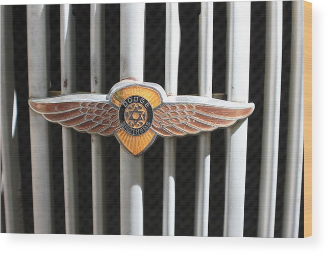 Automobile Wood Print featuring the photograph Grill Badge by Douglas Miller