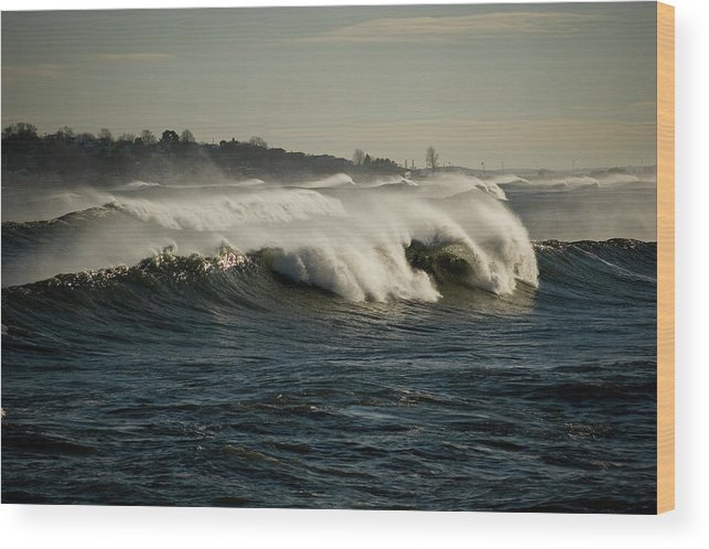 Blue Wood Print featuring the photograph High Surf by Jack Foley