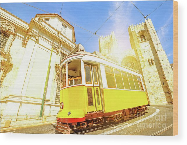 Lisbon Wood Print featuring the photograph Historic Tram And Lisbon Cathedral by Benny Marty