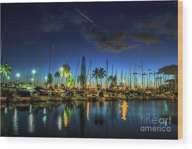Ala Wai Harbor Wood Print featuring the photograph Honolulu Harbor By Night by Benny Marty