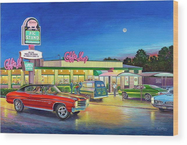 Muscle Car Cruise Night Wood Print By Randy Welborn