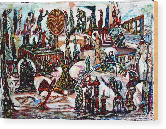 Abstract Imagination Palestine Wood Print featuring the painting Life In Palestine by Robert Gravelin