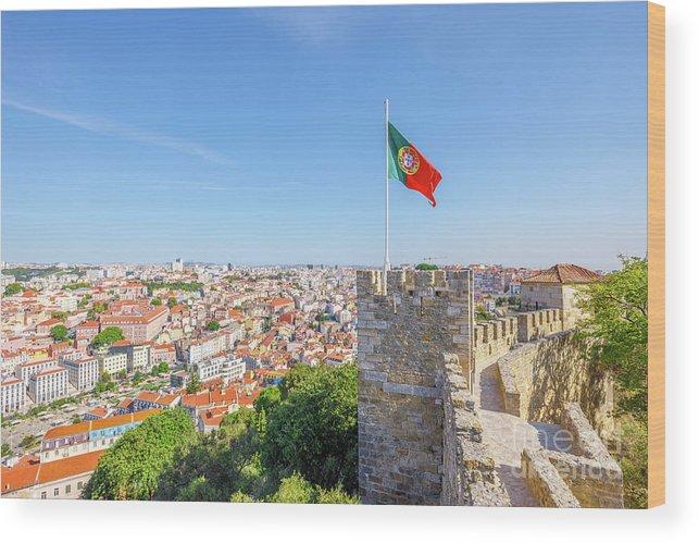 Lisbon Wood Print featuring the photograph Lisbon Castle Flag by Benny Marty