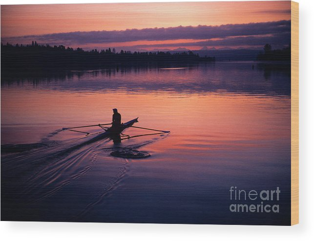 Motion Wood Print featuring the photograph Man Rowing On Montlake Cut by Jim Corwin
