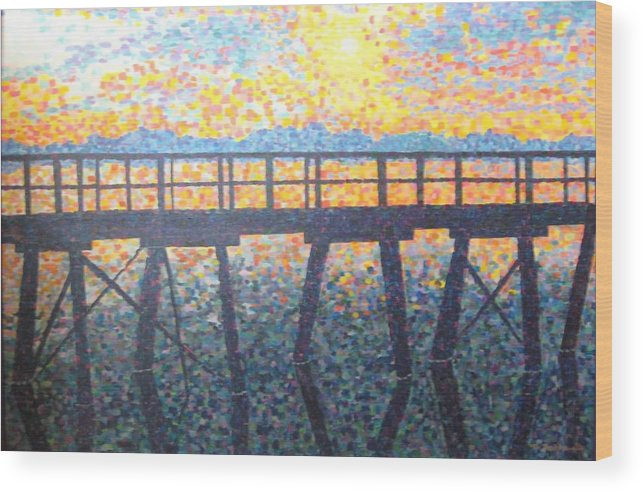 Seascape Wood Print featuring the painting Mosiac Pier by Sheryl Sutherland