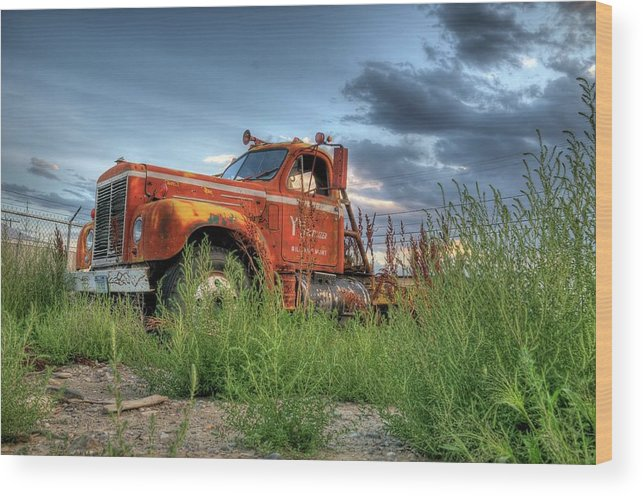 Truck Wood Print featuring the photograph Orange Truck by Dave Rennie