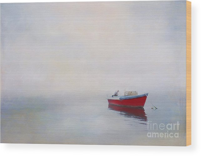 Boat Wood Print featuring the photograph Pop Of Red by Jayne Carney