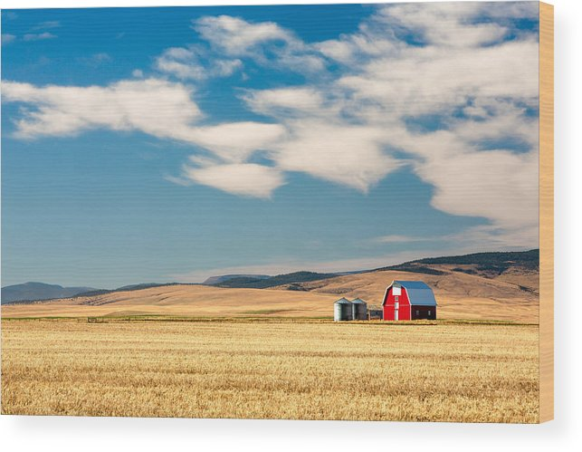 Red Wood Print featuring the photograph Prairie Red by Todd Klassy